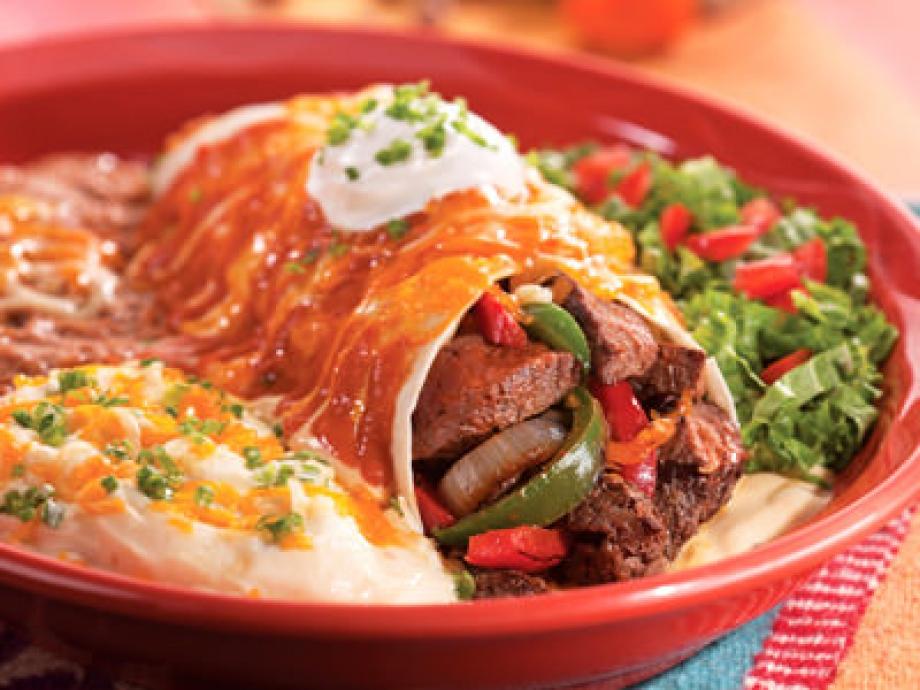 Steak Picado Burrito Fajita Steak Burrito